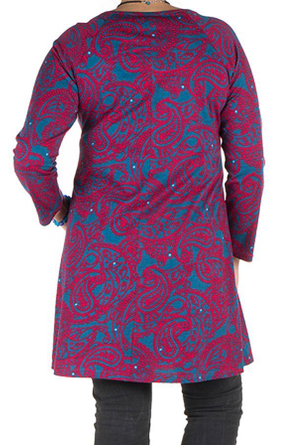 Tunique ample femme ronde Rose plissée avec col rond Enzelle 301945