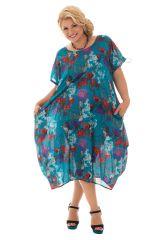 Tunique ample style bohème avec imprimé floral bleue Cali 290501
