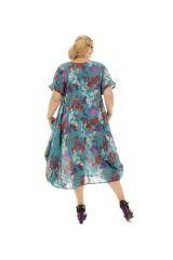 Tunique ample style bohème avec imprimé floral bleue Cali 290502