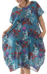 Tunique ample style bohème avec imprimé floral bleue Cali 291972
