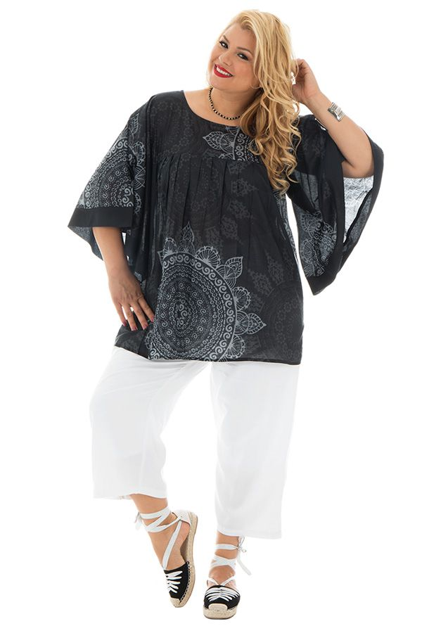 Tunique ample tendance avec mandalas gris et blanc Nacéra 290441