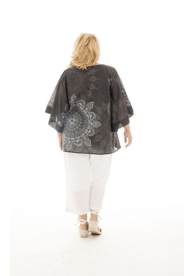 Tunique ample tendance avec mandalas gris et blanc Nacéra 290442