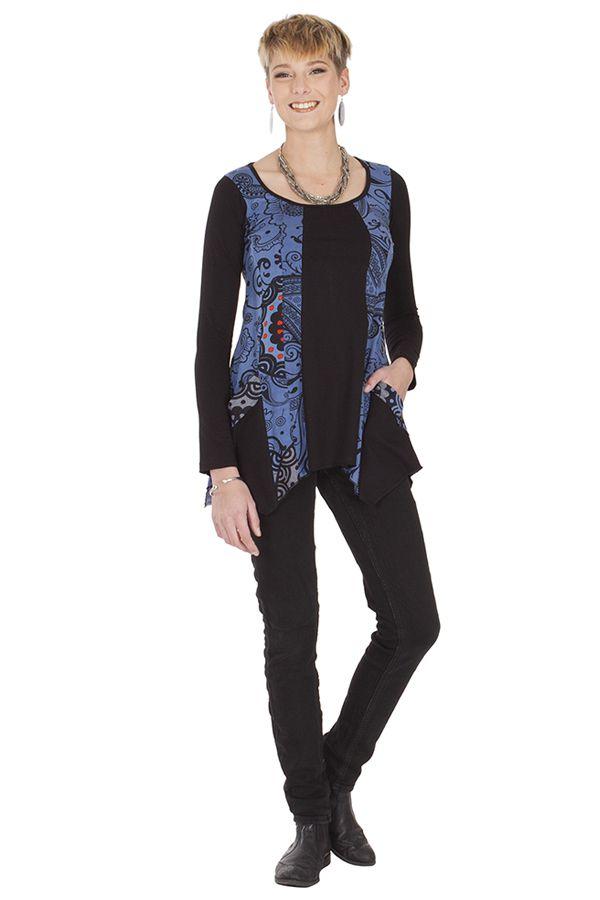 Tunique Asymétrique à manches longues Grazzie Noire et Bleue 285634