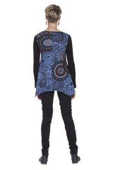 Tunique Asymétrique à manches longues Grazzie Noire et Bleue 285635
