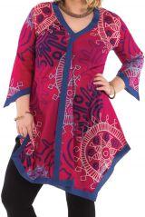 Tunique Asymétrique et Colorée pour Femme Pulpeuse Louise Rose 284604