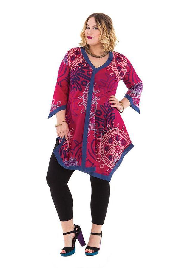 Tunique asym trique et color e pour femme pulpeuse louise rose - Femme pulpeuse image ...