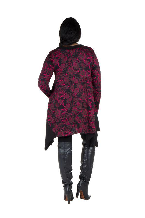 Tunique Asymétrique et Originale Nouchka Noire et Rose King size 301177
