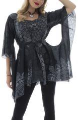 Tunique asymétrique noire originale manches chauve-souris Pearse 292763