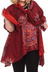 Tunique avec étole intégrée Originale et Ethnique Callas Bordeaux 284567
