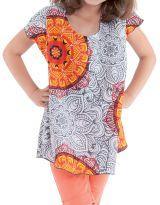 Tunique Blanche et Orange à col rond pour Fille Imprimée Guimauve 280558