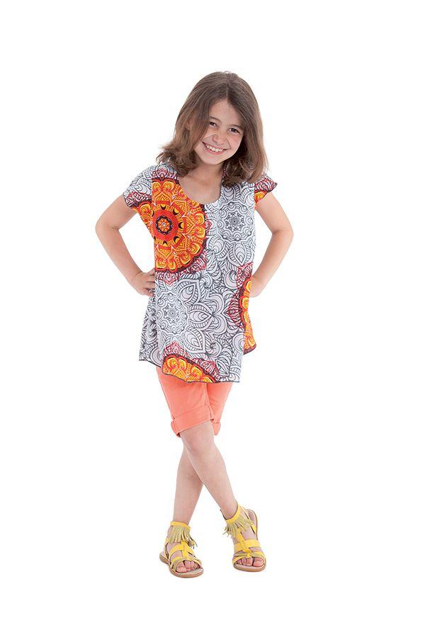 Tunique Blanche et Orange à col rond pour Fille Imprimée Guimauve 280559