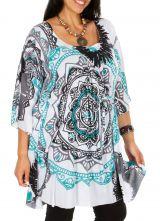 Tunique blanche femme grande taille imprimée moderne Louvy