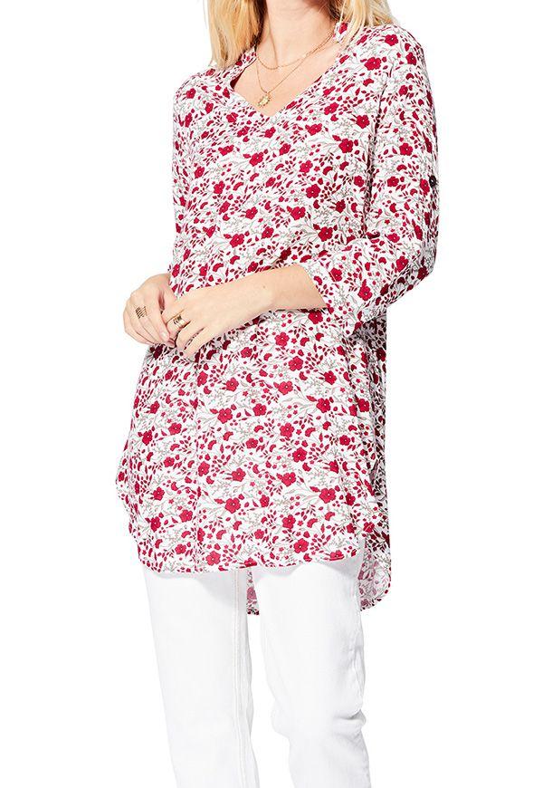 Tunique blanche femme imprimé fleurs bohème d\'été Vanja