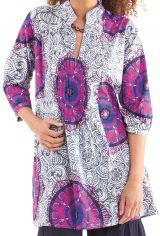 Tunique blanche pour femme à col indien colorée et originale Gafsa 281827