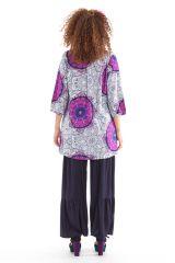 Tunique blanche pour femme à col indien colorée et originale Gafsa 281829