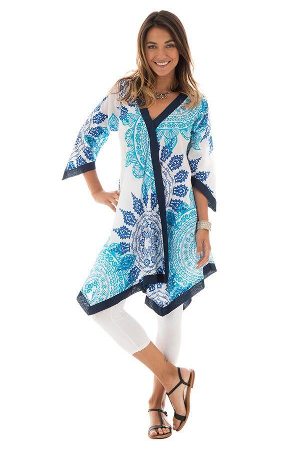 Tunique Blanche pour Femme Imprimée Mandalas et Originale Sophie 293428