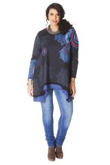 Tunique Bleue à manches longues Ethnique et Originale Annette 286559