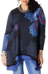 Tunique Bleue à manches longues Ethnique et Originale Annette 286728