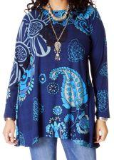 Tunique Bleue Grande taille à manches longues Ethnique Ninon 286712