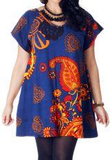 Tunique Bleue Paisley pour femme pulpeuse Ample à col en V Adèle 286714