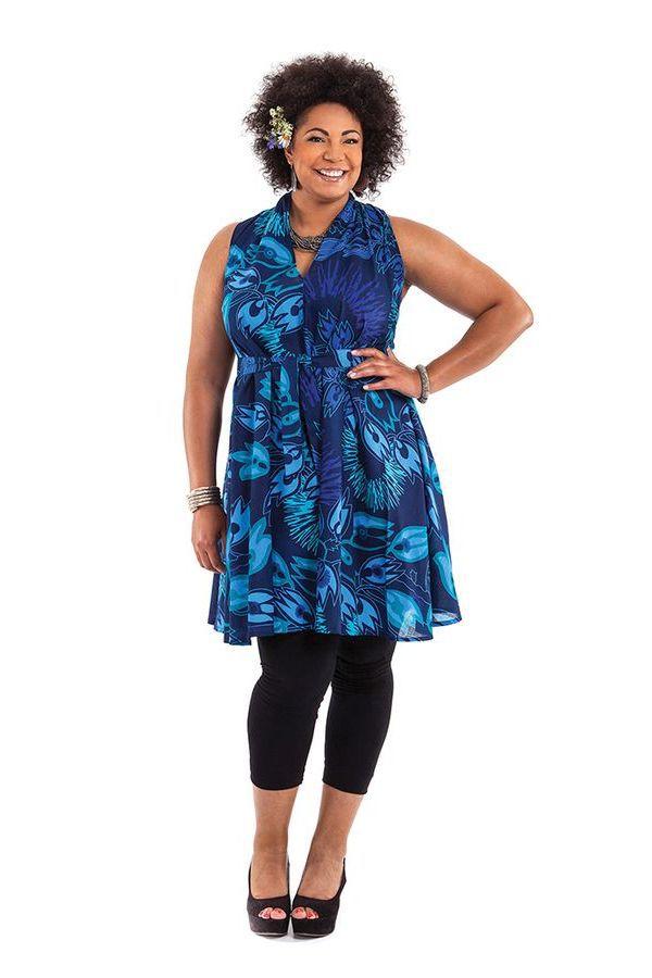 Tunique Bleue sans manches Grande Taille Originale et Ample Lucciani 284518
