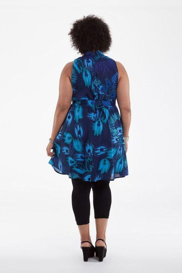 Tunique Bleue sans manches Grande Taille Originale et Ample Lucciani 284519