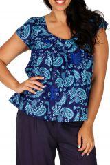 Tunique blouse courte bleue originale grande taille Daria