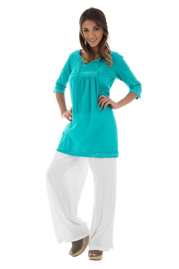 Tunique boh me femme au style hippie et ethnique clara turquoise - Style boheme femme ...