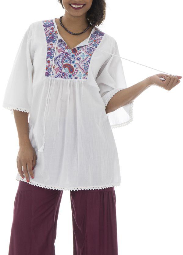 Tunique brodée pour femme Ethnique et Confortable Kelly Blanche 295520