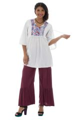 Tunique brodée pour femme Ethnique et Confortable Kelly Blanche 295521