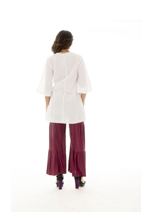 Tunique brodée pour femme Ethnique et Confortable Kelly Blanche 295522