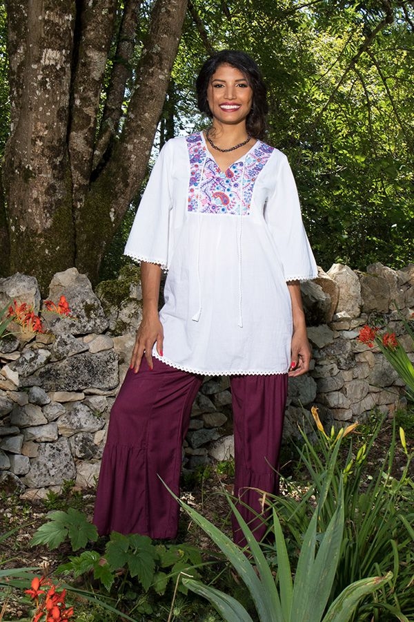 Tunique brodée pour femme Ethnique et Confortable Kelly Blanche 295526