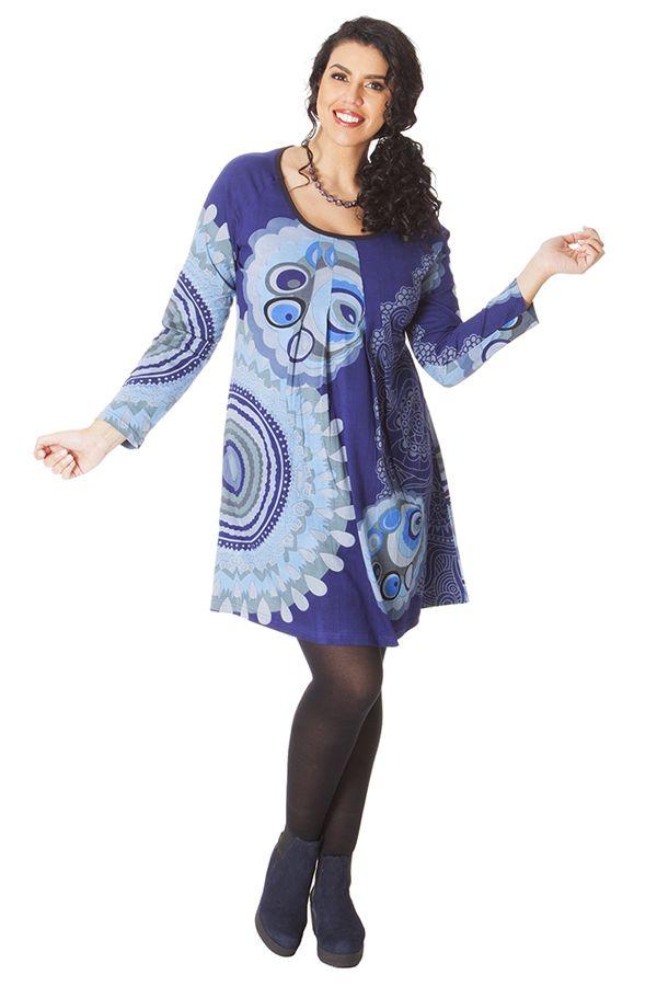 Tunique Camaïeu de Bleu Originale et Colorée pour femme pulpeuse Yetty 286565