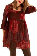Tunique chic et élégante tons de rouge à col carré Milla