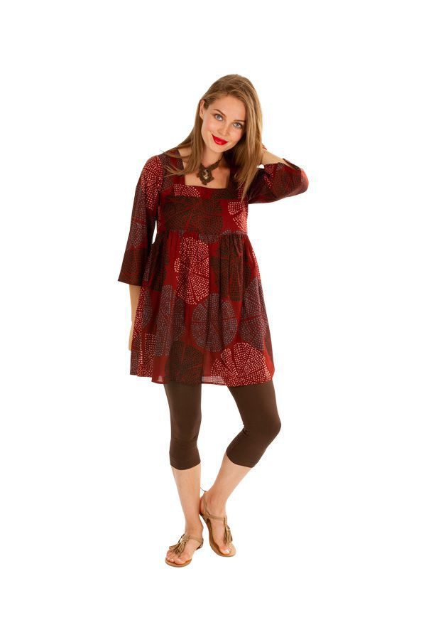Tunique chic et élégante tons de rouge à col carré Milla 310588