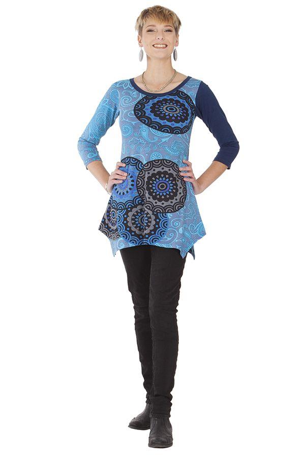 Tunique chic et ethnique asymétrique à col rond Gretel 285644