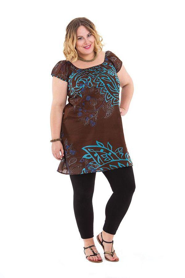 Tunique Chocolat Grande Taille à ceinture amovible Arlette 284466