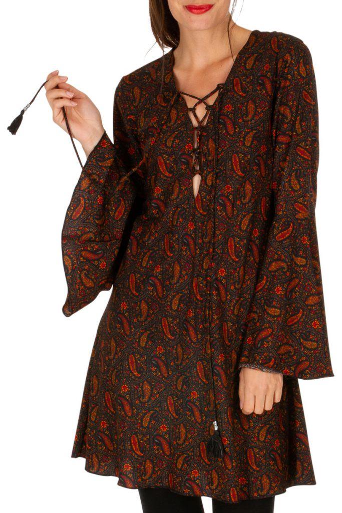 Tunique col à lacets avec des manches longues look bohème Paulina 306281