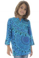 Tunique coloré avec un col mao et imprimés fantaisies bleus Jay 295032