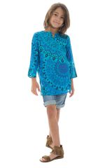 Tunique coloré avec un col mao et imprimés fantaisies bleus Jay 295033