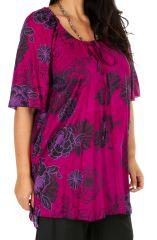 Tunique colorée à motif floral rose femme grande taille Viky 309180