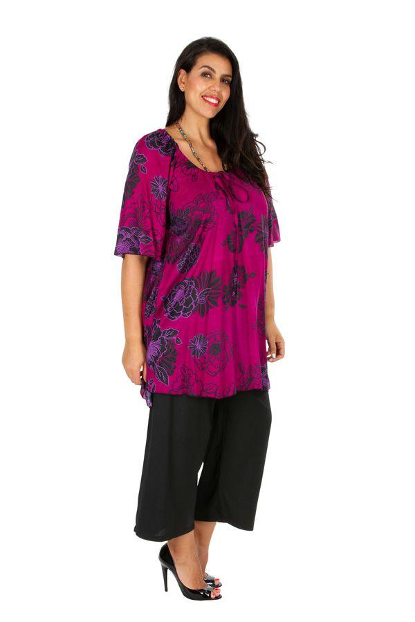 Tunique colorée à motif floral rose femme grande taille Viky 309181