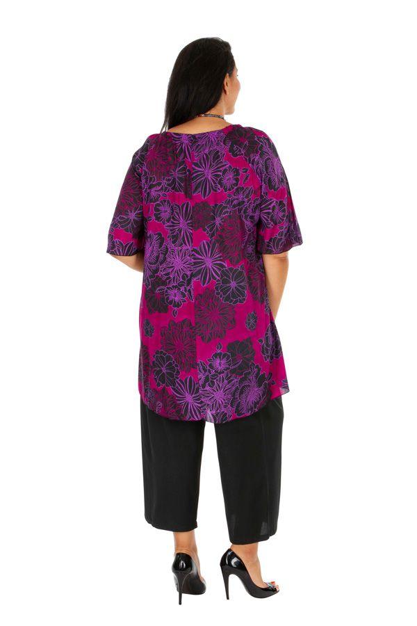 Tunique colorée à motif floral rose femme grande taille Viky 309182