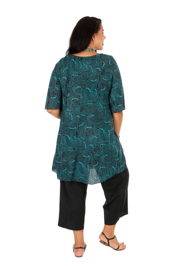 Tunique colorée longue à col rond femme grande taille Lana 309173