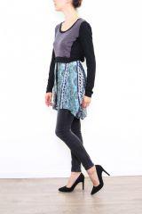 Tunique colorée originale à manches longues bleu Sylvie 302867