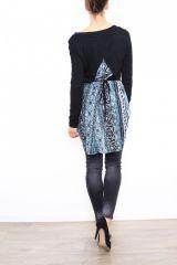 Tunique colorée originale à manches longues bleu Sylvie 302868
