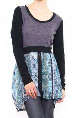 Tunique colorée originale à manches longues Sylvie Bleu 302863