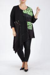Tunique coupe asymétrique grande taille noire et verte Lucenza 305329