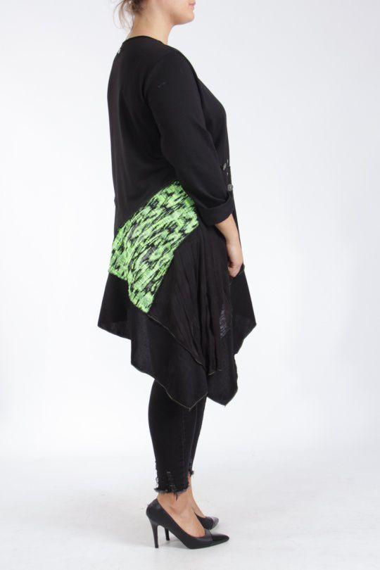 Tunique coupe asymétrique grande taille noire et verte Lucenza 305330