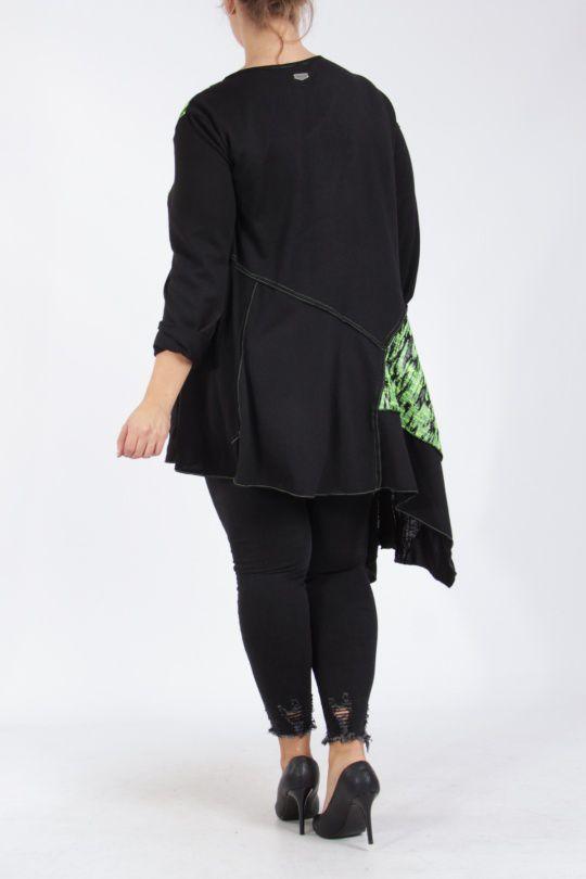 Tunique coupe asymétrique grande taille noire et verte Lucenza
